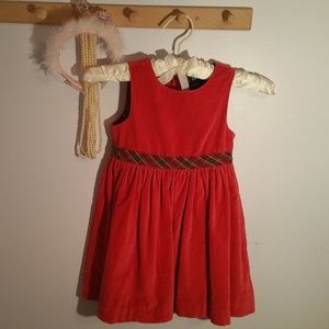Gap Size 4T Red Velvet Tartan Ribbon Dress